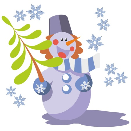 Snowman with tree in color 07 Stock Vector - 8313431