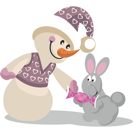 Snowman in color 14 Vector