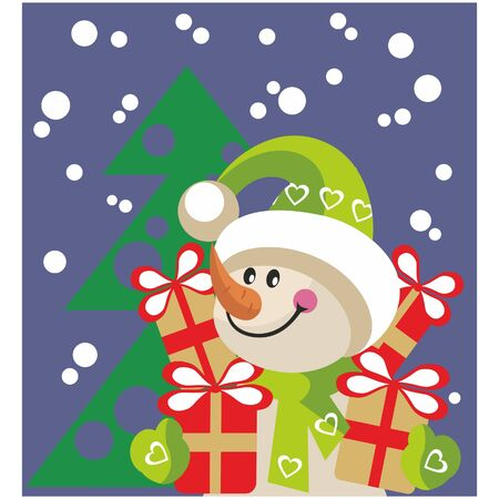 Snowman  with gift in color 20 Vector