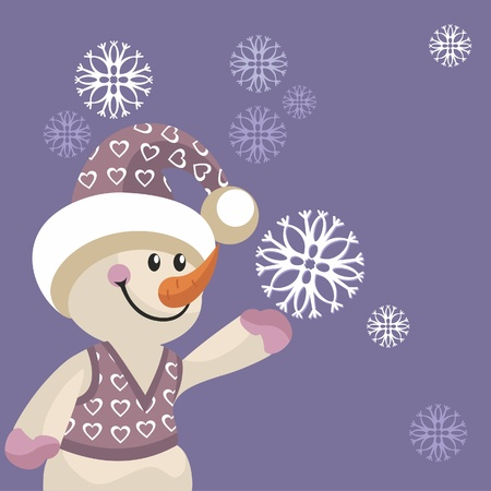 Snowman in color  Vector