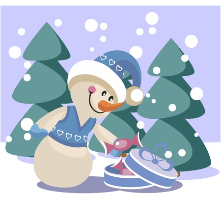 Snowman in color Stock Vector - 8357054