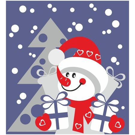 Snowman  with gift in color  Vector