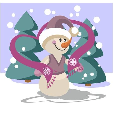 Snowman in color  Vector