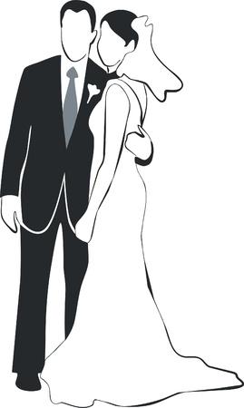 Vector. Wedding couple silhouette 02 Vector