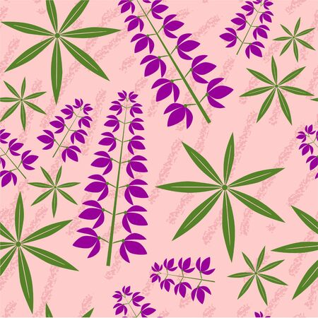 lupin: Seamless grunge floral texture  Illustration