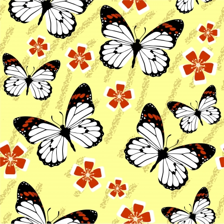 Vector. Seamless grunge butterfly texture 528 Stock Vector - 15910030