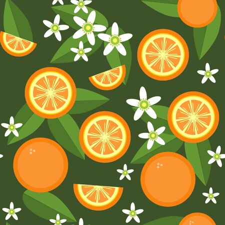 Vector  Seamless orange fruit and flowers texture 545 Illustration
