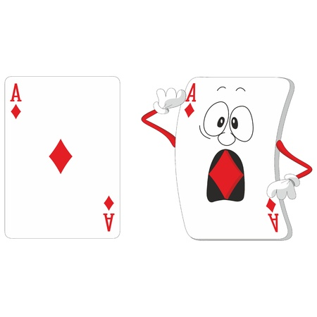 ace hearts: Vector  Emotional playing card set 13