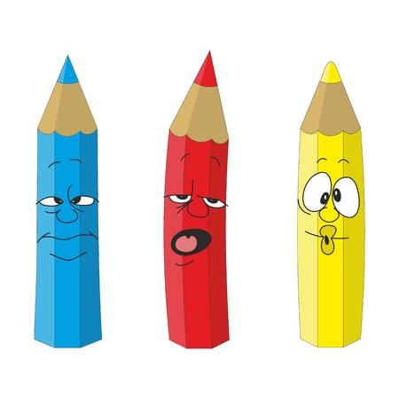 Vector Cartoon emotional pencil set color 09 Stock Vector - 18838998