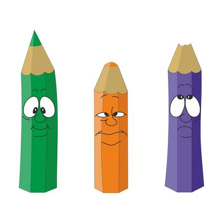 Vector Cartoon emotional pencil set color 11 Vector