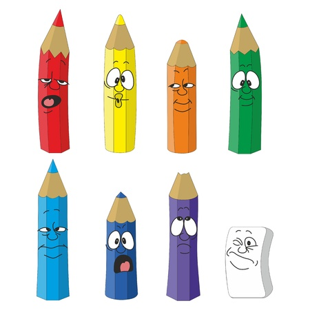 Vector Cartoon emotional pencil set color 10 Vector