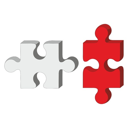 cube puzzle: Vector  3d puzzle red and white 33 Illustration