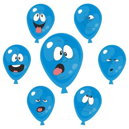 celebration smiley: Vector  Emotion blue balloon set 003