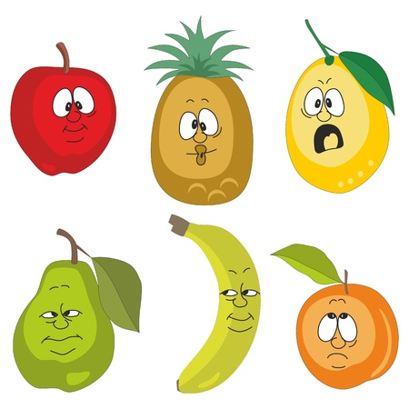 Vector Emotion cartoon fruits set 001 Vector