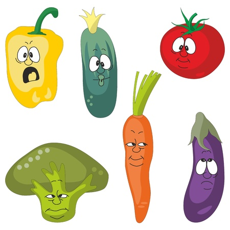 Vector Emotion cartoon vegetables set 001 Vector