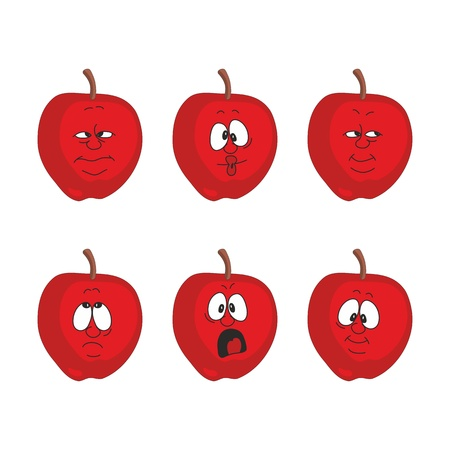 Vector.Emotion cartoon red apple set  Vector