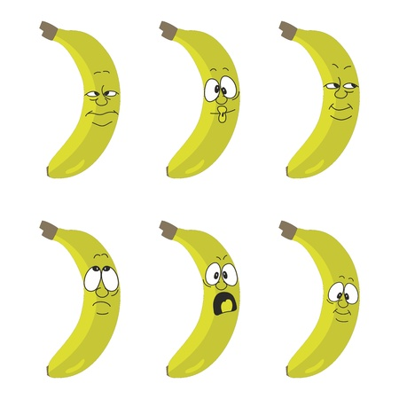 Vector Emotion cartoon yellow banana set  Vector