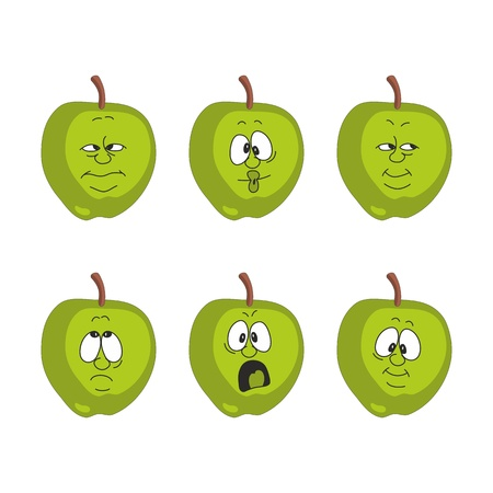 Vector Emotion cartoon green apple set  Vector