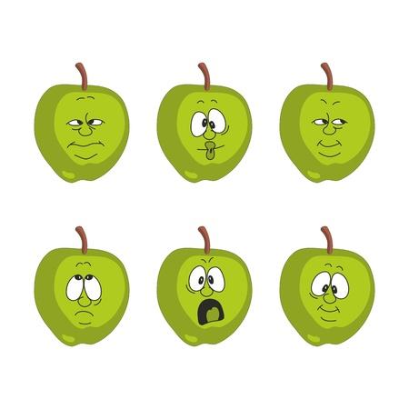 Vector Emotion cartoon green apple set  Vector