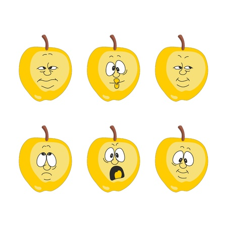 yellow apple: Vector Emotion cartoon yellow apple set