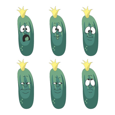 Vector  Emotion cartoon green cucumber vegetables set 006 Vector