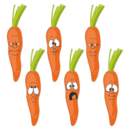 Vector  Emotion cartoon carrot vegetables set Vector