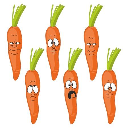 cartoon carrot: Vector  Emotion cartoon carrot vegetables set Illustration