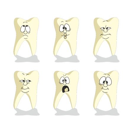tooth cartoon: Vector. Emotion tooth cartoon set 007