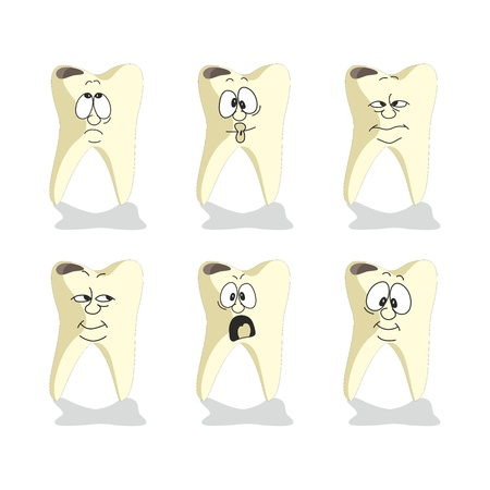 tooth cartoon: Vector. Emotion tooth cartoon set 008