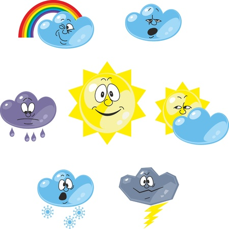 snow storm: Vector. Weather cartoon set 001