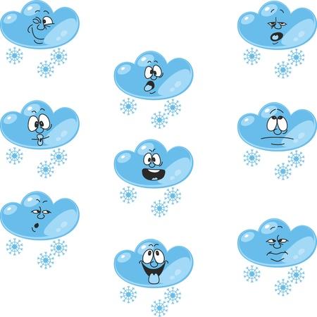 estrella caricatura: Vectorial. El tiempo de dibujos animados nube de nieve establece 006