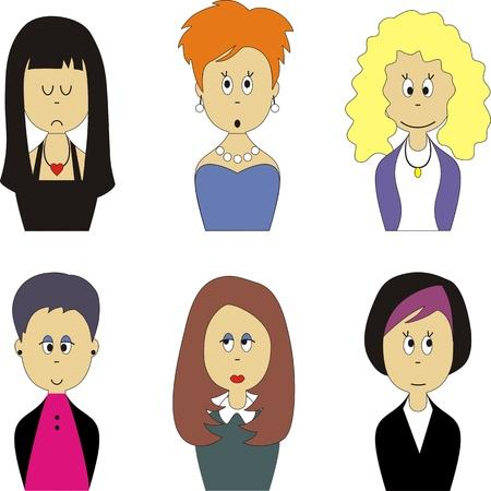 asian business group: Vector. Female face avatar set 001 Illustration