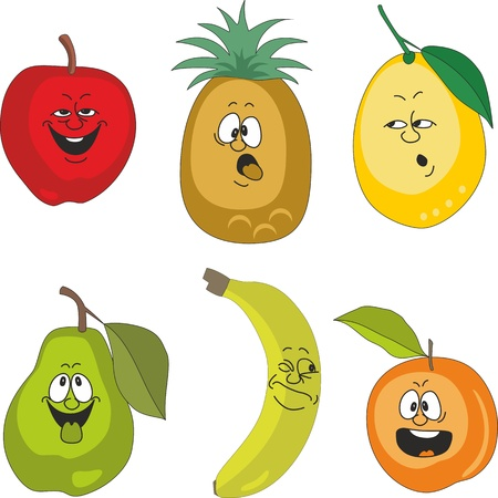 Vector. Emotion cartoon fruits set 010 Vector