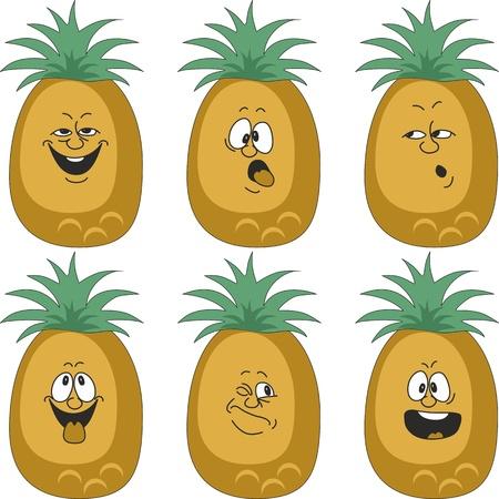 Vector.Emotion cartoon pineapple set 012 Vector