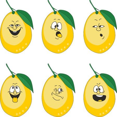 limon caricatura: Vector.Emotion dibujos animados amarillos limón establece 013 Vectores
