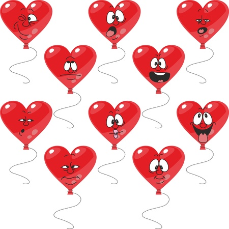 Vector. Emotion red hearts balloon set 003 Vector