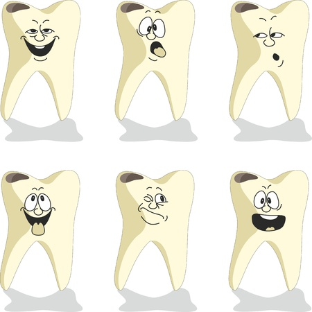 Vector. Emotion tooth cartoon set 009 Vector
