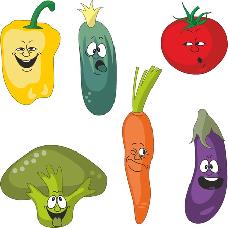 Vector.Emotion cartoon vegetables set 011 Vector