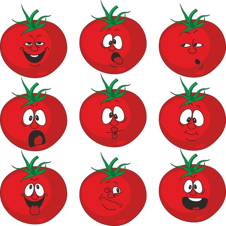 funny tomatoes: Vector. Emotion cartoon red tomato vegetables set 015