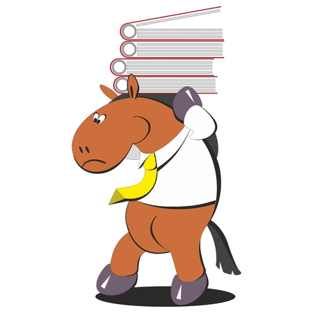 Vector. The horse carries a stack of folders 005