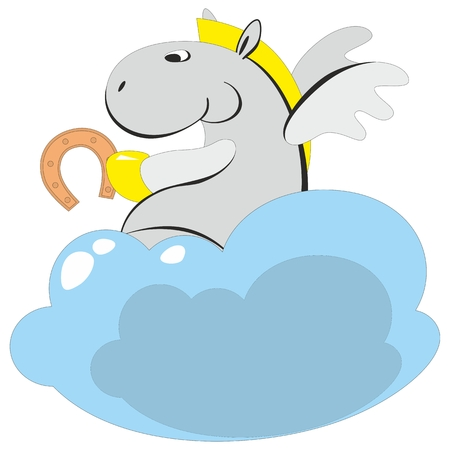 Vector. The winged horse on a cloud 006 Vector