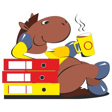 caballo bebe: Vectorial. Empresario Caballo bebiendo café 009