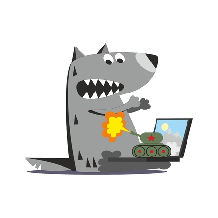 wroth: Cartoon panzer firing on wolf with laptop isolated on white background Illustration