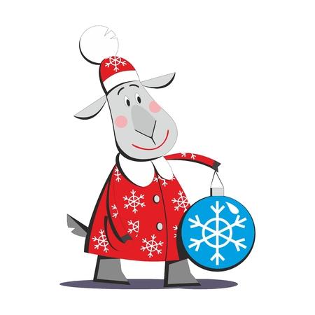 01: Goat in Santa Claus costume 01