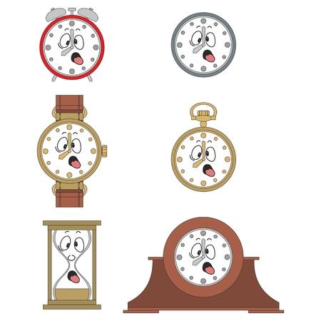 watch face: Cartoon funny clock or watch face smiles illustrationrtoon funny clock face smiles 02