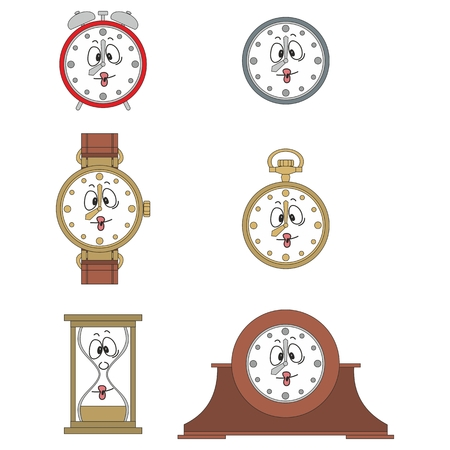 03: Cartoon funny clock or watch face smiles illustrationrtoon funny clock face smiles 03