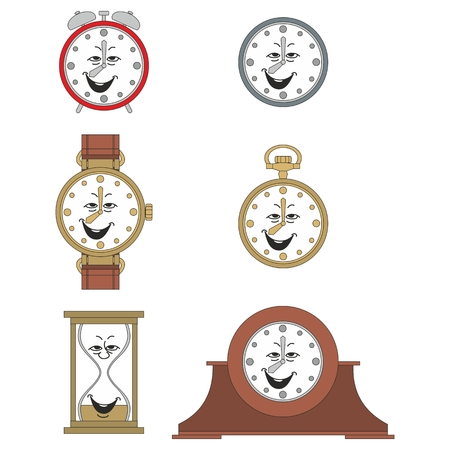 Cartoon funny clock or watch face smiles illustrationrtoon funny clock face smiles 05 Vector