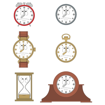 watch face: Cartoon sad clock or watch face smiles illustration 06
