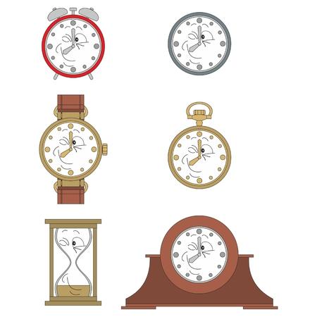 watch face: Cartoon funny clock or watch face smiles illustrationrtoon funny clock face smiles 07 Illustration