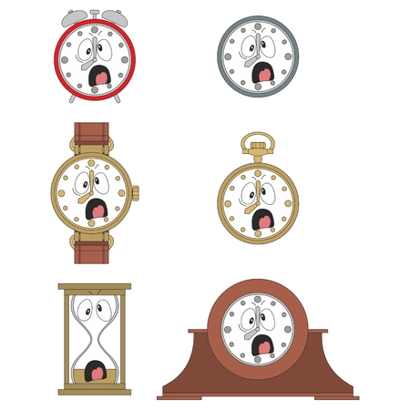 watch face: Cartoon screaming clock or watch face smiles illustration 09